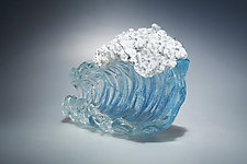 Aqua Barrel Wave by Ian Whitt (Art Glass Sculpture)