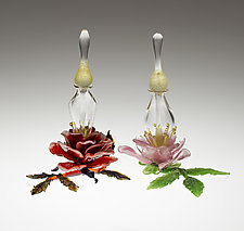 Rose Perfume Bottle by Loy Allen (Art Glass Perfume Bottle)