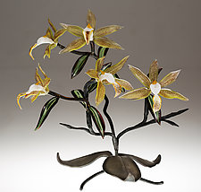 Green Orchid by Loy Allen (Art Glass Sculpture)