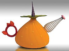 Garden Variety Teapot in Mango by Bob Kliss and Laurie Kliss (Art Glass Teapot)