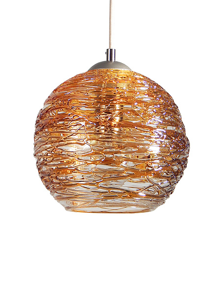 Spun Glass Globe Pendant Light in Gold