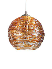 Spun Glass Globe Pendant Light in Gold by Rebecca Zhukov (Art Glass Pendant Lamp)