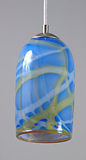 Milky Way Pendant Light in Blue by Rebecca Zhukov (Art Glass Pendant Lamp)