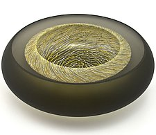 Facet Bowl in Gray with Gold and Gray Hurricane Murrine by Marc Carmen (Art Glass Bowl)