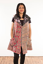 Kantha Hooded Vest #3 by Mieko Mintz (Size L (14-16), One of a Kind)