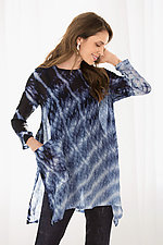 Silk Bubble Gauze Swallowtail Top by Michael Kane  (Shibori Tunic)