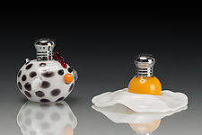 The Chicken and the Egg by Lucky Ducks Glass (Art Glass Salt & Pepper Shakers)