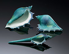 Deep Azure Sea Shells by Avolie Glass (Art Glass Sculpture)