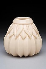 Medium Striped Sins Vase White by Lynne Meade (Ceramic Vessel)