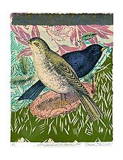 Songbirds in the Garden #5 by Ouida  Touchon (Mixed-Media Wall Art)