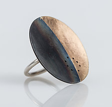 Gibbous Eclipse Ring by Leia Zumbro (Steel and Brass Ring)