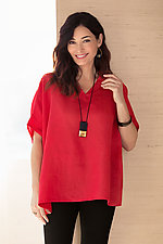 Simple V-Neck Linen Tee by Planet   (Linen Top)