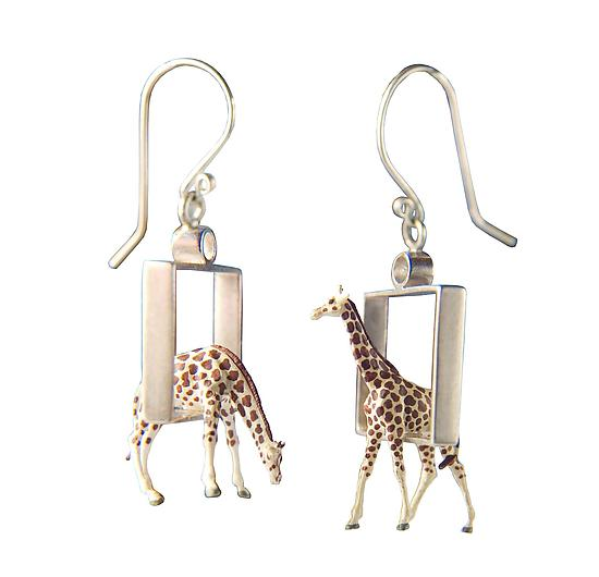 Giraffes in Squares Earrings