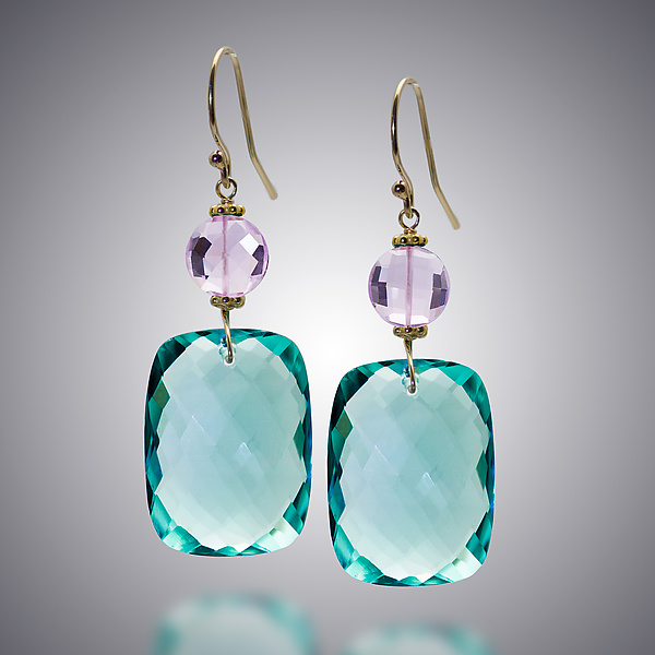 Aqua Quartz and Pink Amethyst Earrings