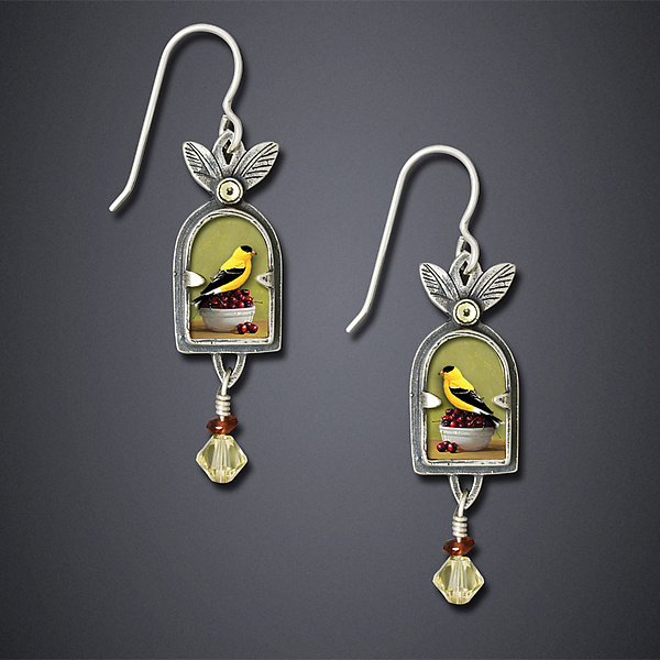 Goldfinch With Cherries Earrings
