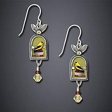 Goldfinch With Cherries Earrings by Dawn Estrin (Silver Earrings)