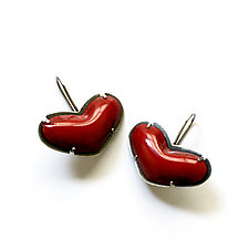 Tiny Heart Earrings by Lisa Crowder (Enameled Earrings)