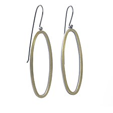 22k Long Oval Earrings by Elisa Bongfeldt (Gold & Silver Earrings)