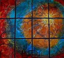 Vertical Summer Sun in Twelve Panels by Cynthia Miller (Art Glass Wall Sculpture)