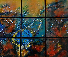 Molten Ocean in Nine Panels by Cynthia Miller (Art Glass Wall Sculpture)