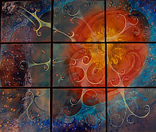 Summer Sky in Nine Panels by Cynthia Miller (Art Glass Wall Sculpture)