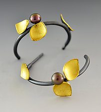 Budding Hoop Earrings by Judith Neugebauer (Gold, Silver & Pearl Earrings)