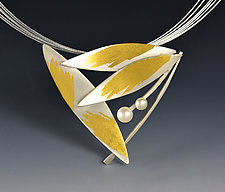 Feathered Pearl Necklace by Judith Neugebauer (Gold, Silver & Pearl Necklace)