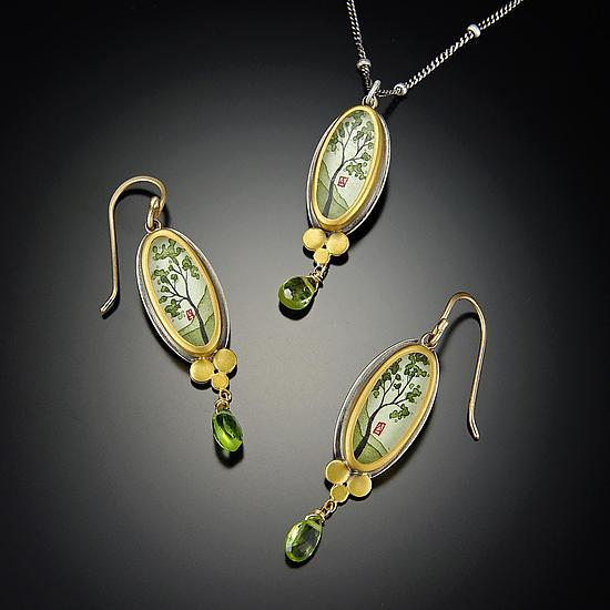 Spring Maple Earrings with Peridot