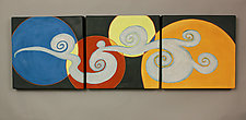 Moon and Cloud Triptych by Liza  Halvorsen (Ceramic Wall Sculpture)