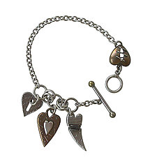 Triple Heart Charm Bracelet by Thomas Mann (Metal Bracelet)