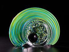 Celestial Geode - Green by Thomas Kelly (Art Glass Sculpture)
