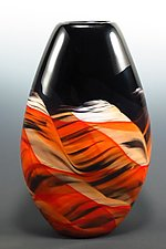 Red & Black Teardrop Vase by Mark Rosenbaum (Art Glass Vase)