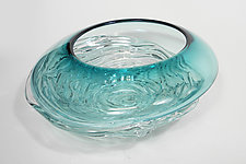 Small Teal Ripple Wave Bowl by Mariel Waddell and Alexi Hunter (Art Glass Bowl)