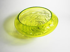 Small Lime Ripple Wave Bowl by Mariel Waddell and Alexi Hunter (Art Glass Bowl)