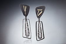 Elegant Shapes by Nina Mann (Gold, Stone & Steel Earrings)