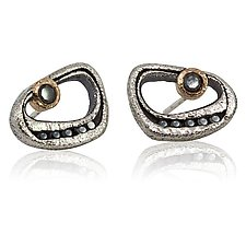 Open Pebble Post Earrings with Black Diamonds by Rona Fisher (Gold, Silver & Stone Earrings)