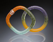 Frosted Finish Kiln-Cast Bangle by Carol Martin (Art Glass & Silver Bracelet)