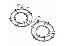 Double Circle Radial Earrings by Nikki Nation (Silver Earrings)