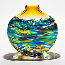 Large Flat Vortex Vase in Peacock with Topaz by Michael Trimpol and Monique LaJeunesse (Art Glass Vase)