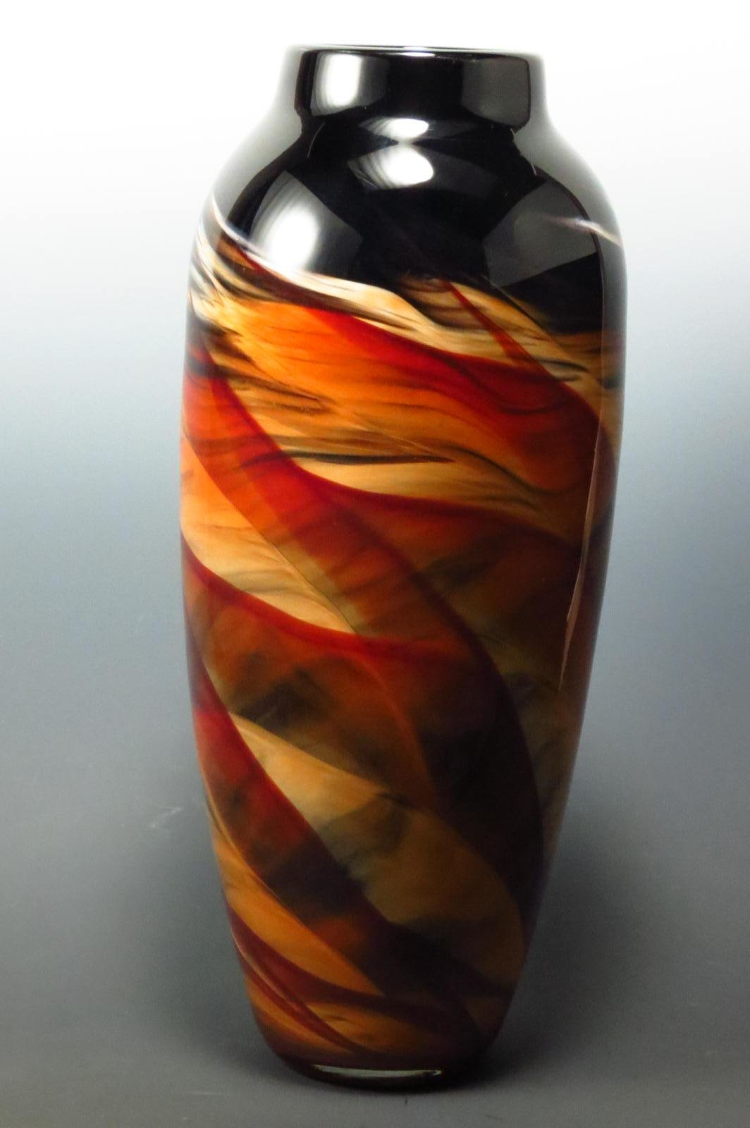Red Amp Black Dreamscape Vase By Mark Rosenbaum Art Glass