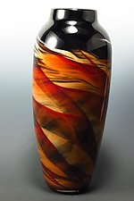 Red & Black Dreamscape Vase by Mark Rosenbaum (Art Glass Vase)