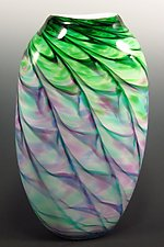 Blue & Green Optic Vase by Mark Rosenbaum (Art Glass Vase)
