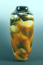 Amber, Black & White Dreamscape Vase by Mark Rosenbaum (Art Glass Vase)