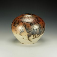 Horse Hair Raku Pottery with Terra Sigilatta by Lance Timco (Ceramic Vessel)