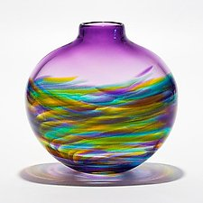 Small Flat Vortex Vase Tiffany with Grape by Michael Trimpol and Monique LaJeunesse (Art Glass Vase)