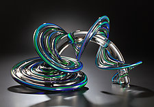 Green and Blue Mix Heechee Probe by Thomas Kelly (Art Glass Sculpture)