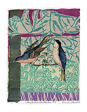 Songbird in the Garden #4 by Ouida  Touchon (Mixed-Media Wall Art)
