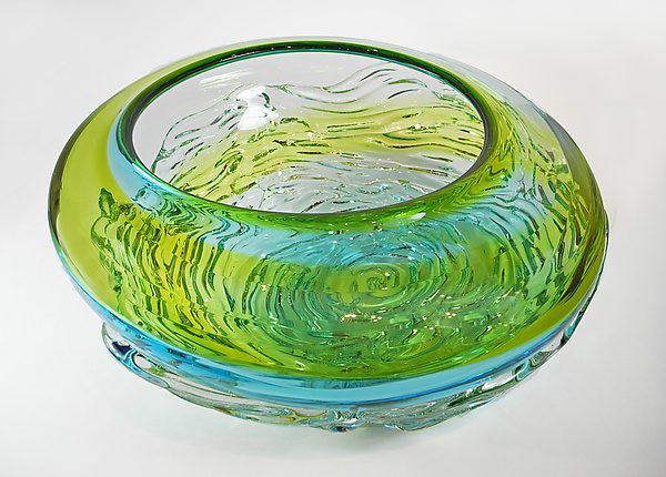 Ripple Wave Bowl in Aqua and Lime