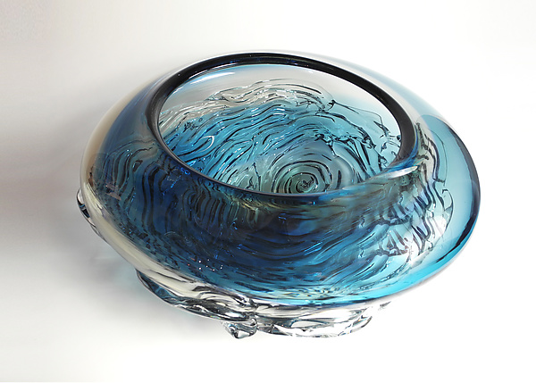 Ripple Wave Bowl in Aqua and Steel Blue