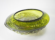 Ripple Wave Bowl in Lime & Gray by Mariel Waddell and Alexi Hunter (Art Glass Bowl)